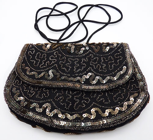 Newly Added Silver Sequin and Beaded Black Purse