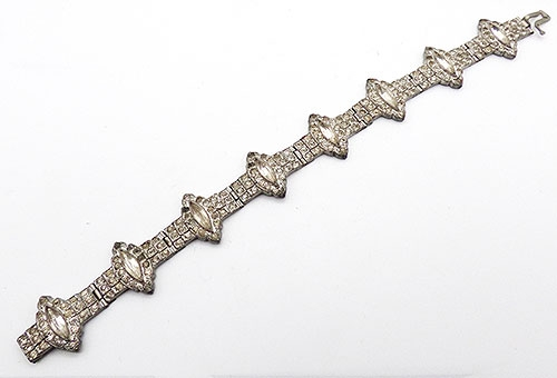 Bridal, Wedding, Special Occasion - Art Deco Pot Metal Rhinestone Bracelet