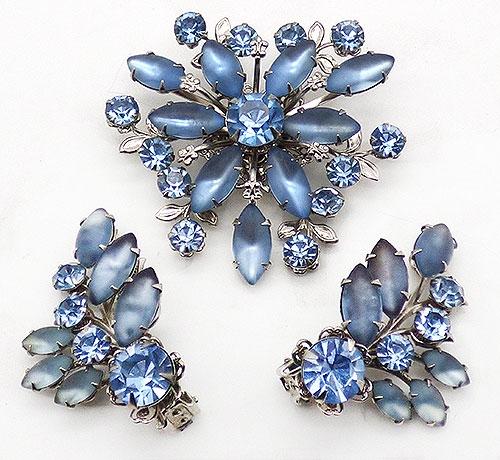 Newly Added Beau Jewels Satin Blue Rhinestone Brooch Set