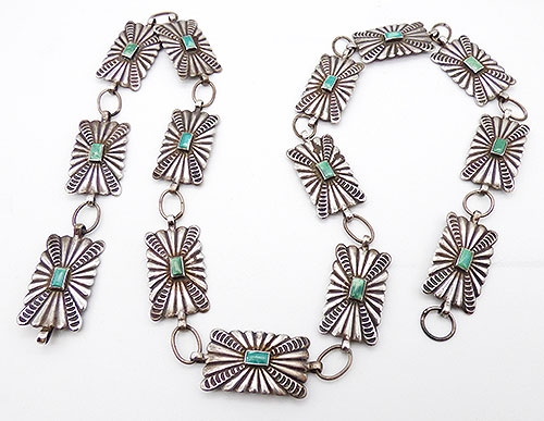 Belts & Buckles - Navajo Sterling Silver Turquoise Concho Belt