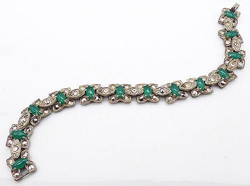 Bracelets - At Deco Marcasite Green Navette Bracelet