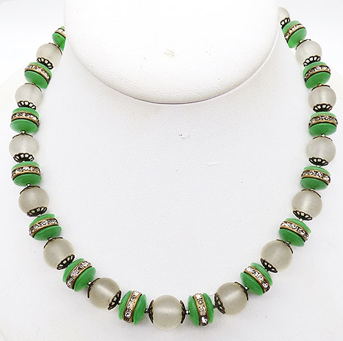 Newly Added French Art Deco Glass Beads Rondelle Necklace