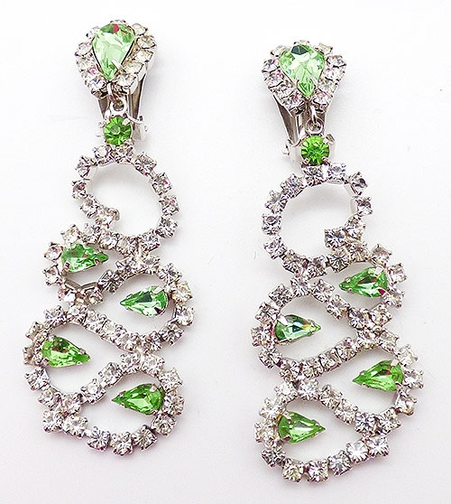 Bridal, Wedding, Special Occasion - Light Green and Clear Rhinestone Earrings