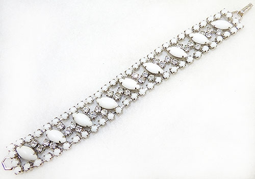 Newly Added La-Rel Milk Glass and Rhinestone Bracelet