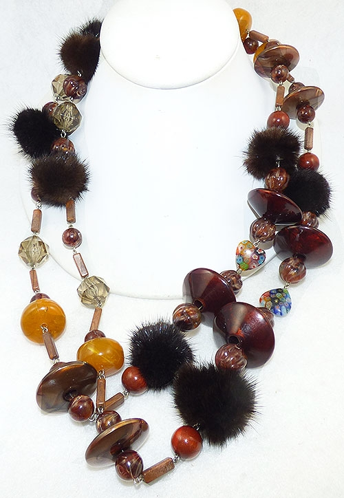 Newly Added Mink ad Lucite Bead Long Necklace