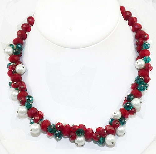 Crystal Bead Jewelry - Red Green Crystal Bead and Pearl Necklace