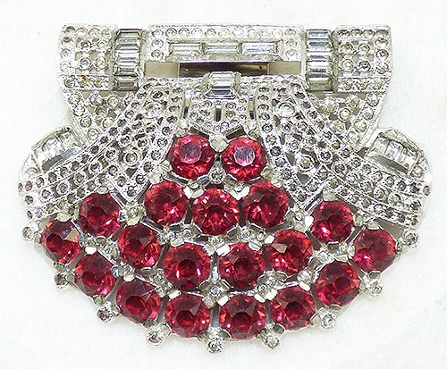 Art Deco - Art Deco Ruby Rhinestone Dress Clip