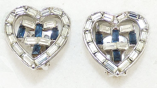 Hearts - Rhinestone Baguette Heart Earrings