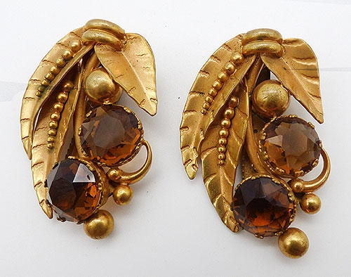 Dress & Fur Clips - Topaz Rhinestone Golden Leaves Dress Clips