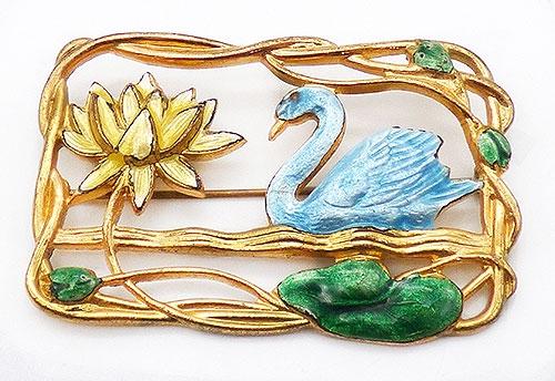 Newly Added Framed Enameled Swan Brooch