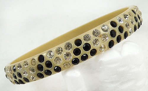 Newly Added Celluloid Black and Cleasr Rhinestone Sparkle Bracelet