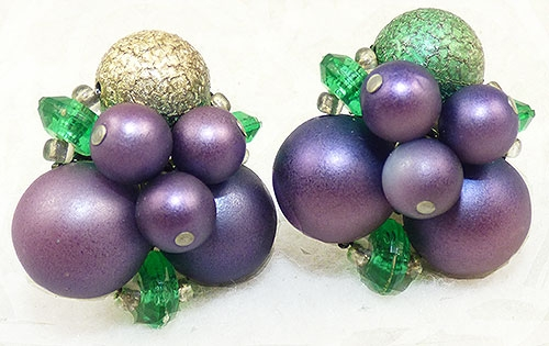 Newly Added Purple and Green Bead Cluster Earrings