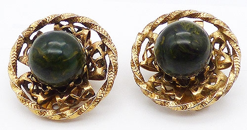 Newly Added Freirich Green Bakelite Earrings