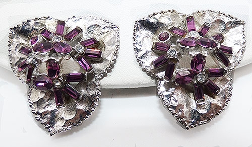 Mosell - Mosell Amethyst Baguette Floral Earrings