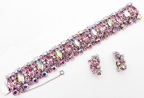 Newly Added Sherman Pink Rhinestone Bracelet Set