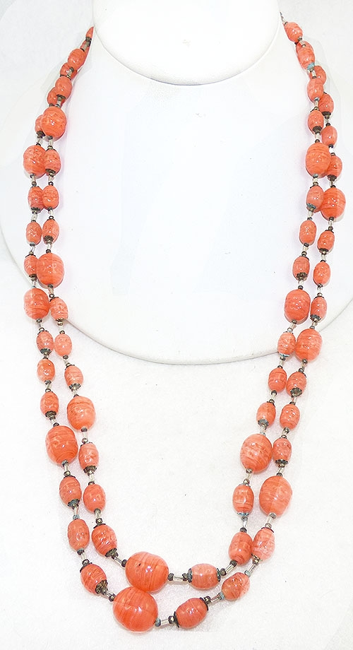 Haskell, Miriam - Miriam Haskell Orange Glass Bead Necklace
