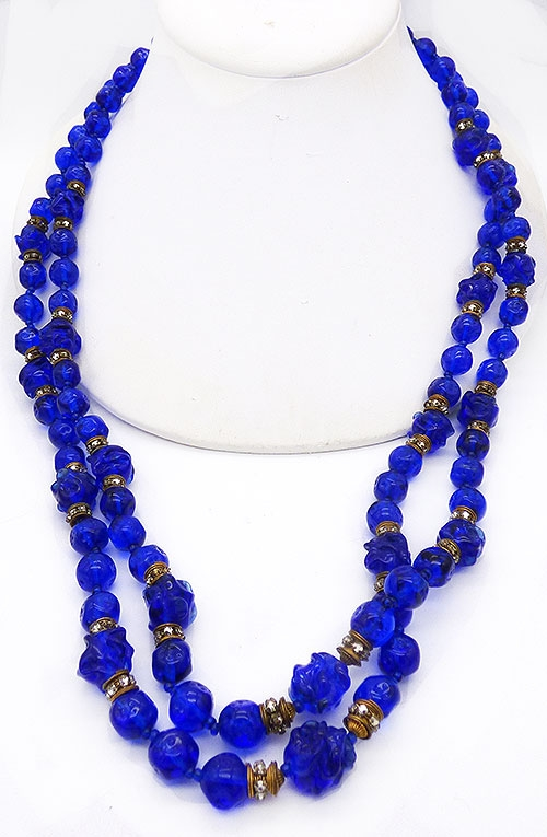 Newly Added Miriam Haskell Cobalt Blue Bead Necklace