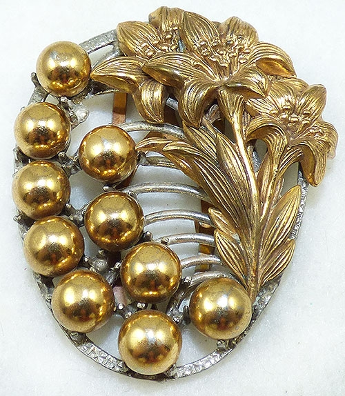 Newly Added Art Deco Gold Fowers and Beads Dress Clip