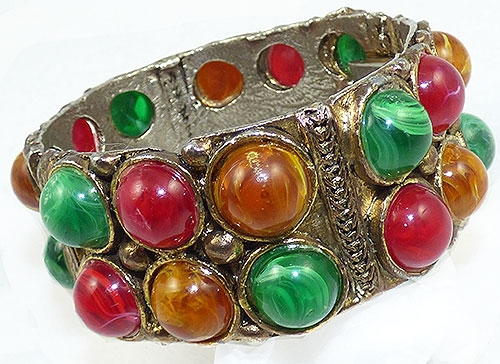 Newly Added Lucite Cabochon Hinged Clamper Bracelet