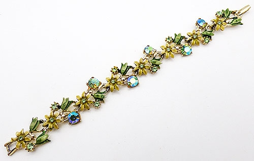 Newly Added Yellow and Green Enamel Flowers Bracelet