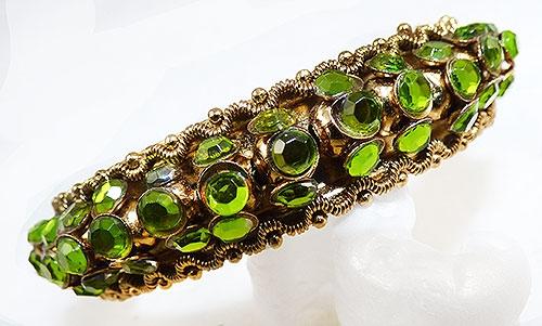 Newly Added Peridot Rhinestone Hinged Clamper Bracelet