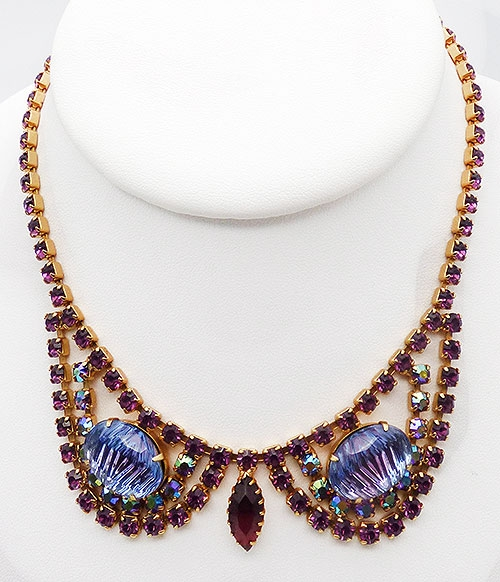 Newly Added Amethyst Rhinestone Heliotrope Glass Necklace
