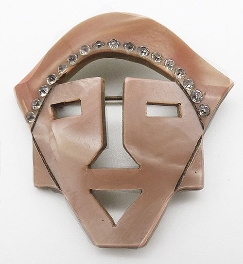 Newly Added Laminated Plastic Tribal Mask Brooch