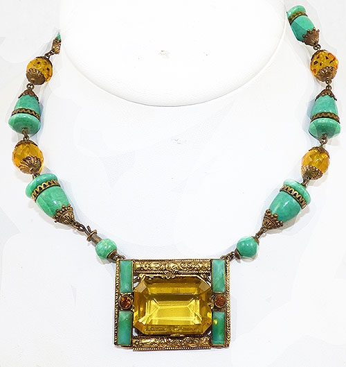 Newly Added Max Neiger Jade and Citrine Glass Necklace