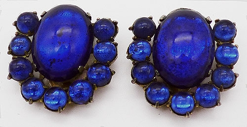 Dress & Fur Clips - Cobalt Blue Glass Dress Clips Pair