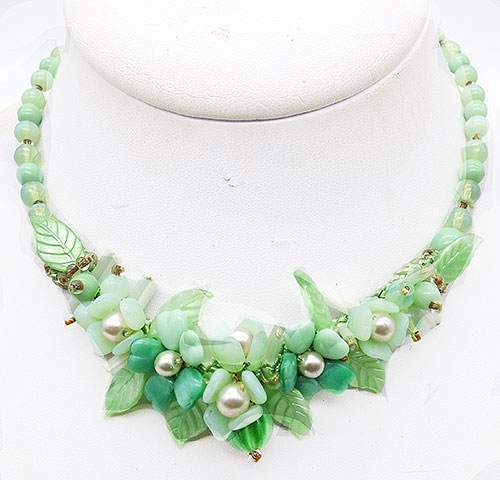 Newly Added West German Green Glass Flowers Necklace