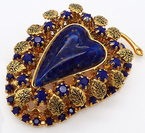 Pantone Color of the Year 2020 - Glass Lapis Gold Leaves Fruit Brooch