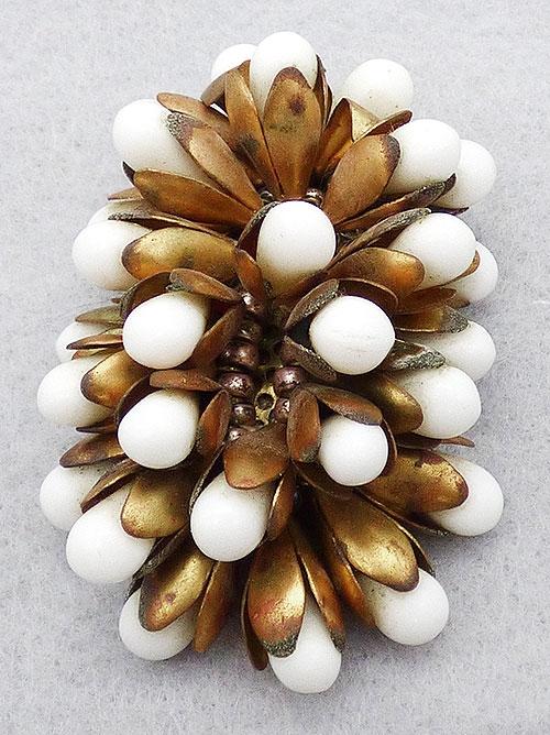 Dress & Fur Clips - Czech White Beads Dress Clip