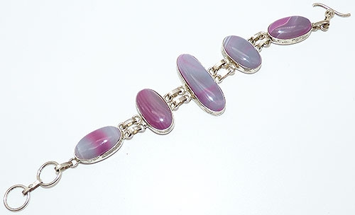 Collectible Contemporary - Lavender and Pink Glass Link Bracelet