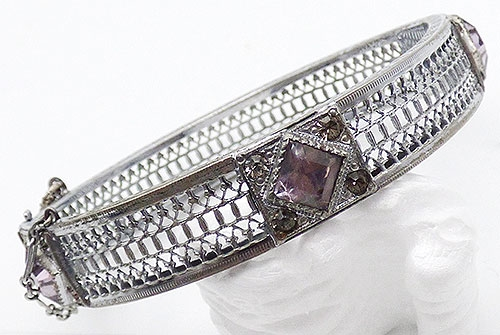 Newly Added A L Lindroth Radium Filigree Hinged Bangle