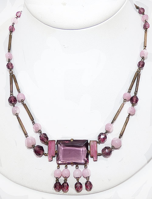 Art Deco - Czech Purple and Pink Glass Necklace