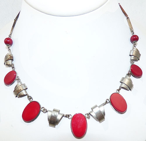 Newly Added Czech Machine Age Red Glass Link Necklace