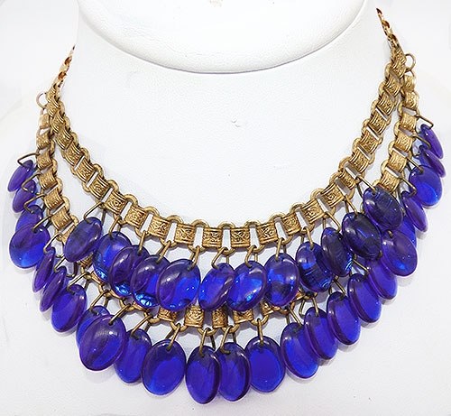 Newly Added Cobalt Blue Drop Tiered Book Chain Necklace
