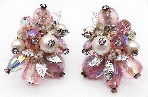 Earrings - Vendome Pink Bead and Crystal Earrings