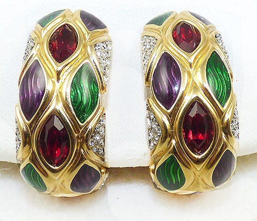 Newly Added Swarovski Red Crystal and Enamel Hoop Earrings