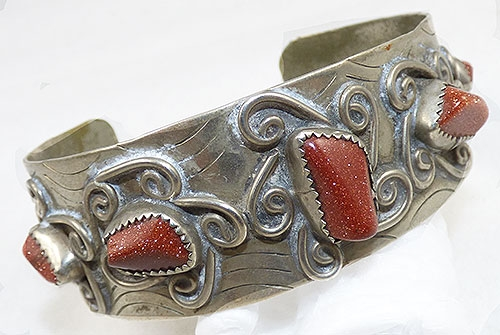 Newly Added Mexican Silver Goldstone Cuff Bracelet