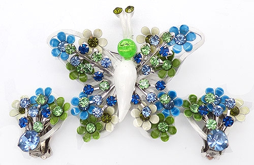 Newly Added  Enameled Flowers Butterfly Brooch Set