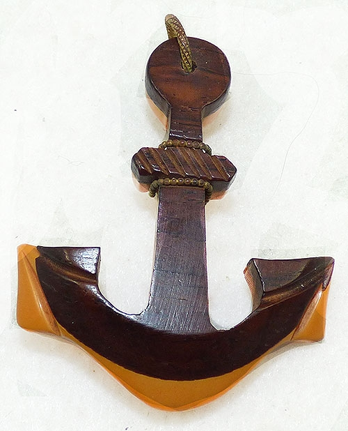 Nautical Jewelry - Wood and Bakelite Anchor Brooch