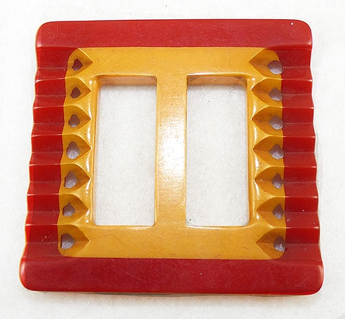 Newly Added Red and Butterscotch Laminated Bakelite Buckle