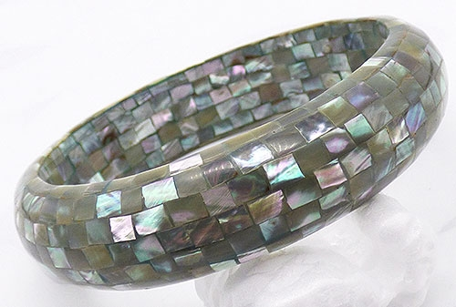 Newly Added Gray Mother-of-Pearl Mosaic Bangle