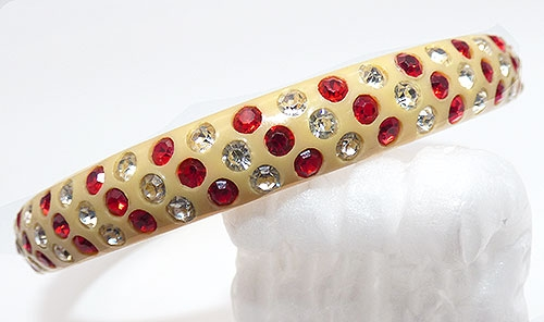 Bakelite, Celluloid, Galalith - Red and Clear Celluloid Sparkle Bracelet