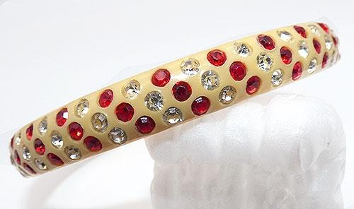 Bracelets - Red and Clear Celluloid Sparkle Bracelet