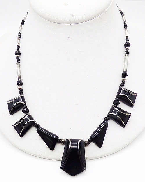 France - French Art Deco Black Glass Necklace