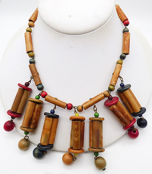 Wooden Jewelry - Bamboo and Wooden Beads Necklace