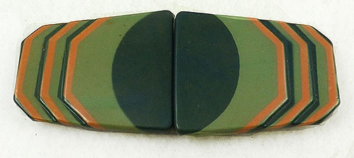 Bakelite, Celluloid, Galalith - German Art Deco 2-Piece Belt Buckle