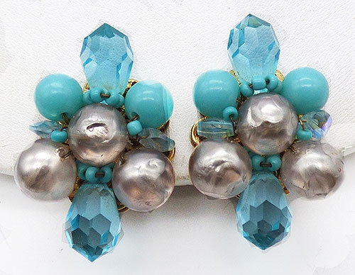 Newly Added DeMario Aqua and Silver Bead Earrings